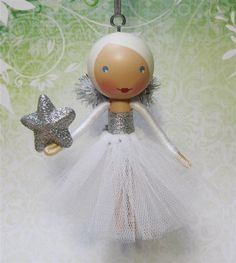 Clothespin Doll Christmas Tree Ornament 2012 - White and Silver Sparkle - Ready to Ship