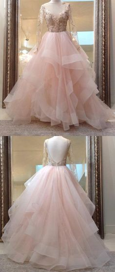 Unique champagne pink tulle lace long prom dress, pink evening dress #dressesprom