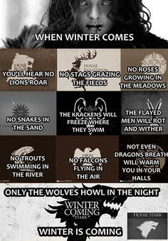 when winter comes poem game of thrones - Google Search