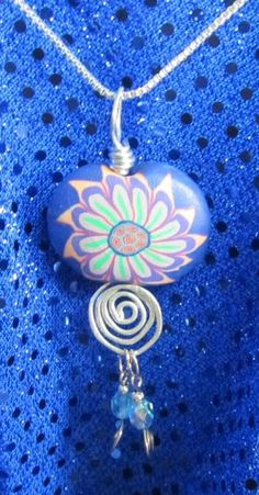 Blue Fimo Bead Necklace