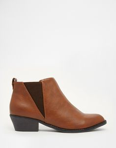 Image 1 -Head Over Heels By Dune Plio Tan Flat Western Ankle Boots
