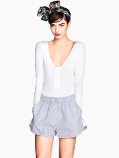 H&M - I want this outfit!! -White long sleeve body, shorts, Alice band