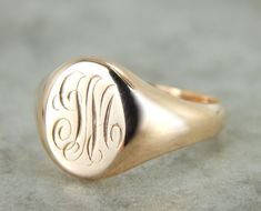 Vintage Monogrammed Signet Ring - so chic worn on the pinky!