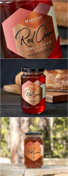 From the Remote Marri Forests of Western Australia, Monofloral Honey Label Packaging Design Design Agency: Asprey Creative Brand / Project Name: Harvest Road Honey Location: Australia Category: World Brand & Packaging Design Society Honey Jar Labels, Honey Label, Drink Labels, Honey Packaging, Food Packaging, Brand Packaging, Packaging Design, Jar Design, Label Design