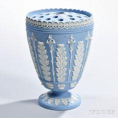 Wedgwood Solid Light Blue Jasper Vase and Cover