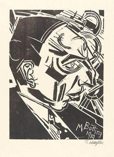 Fritz Schaefler, Bildnis M. Butting, 1919, Holzschnitt