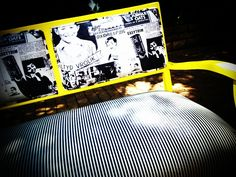 Vintage bench: painted bright yellow and reupholstered in black and white custom fabric. Vintage Bench, New Life, Painting Techniques, Custom Fabric, Old Things, Africa, Mad Hatters, Black And White, Bright Yellow