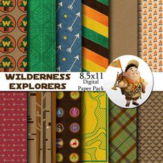 Disney Wilderness Explorers - Up - Inspired 8.5x11 Digital Paper Pack for Digital Scrapbooking, Party Supplies, Invites - INSTANT DOWNLOAD on Etsy, $3.99