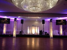 Amazing DJ set up with uplighting, TV monitors, 4 towers and spotlights at Doolan's! #UFDJ #Lighting #NJWeddingDJ