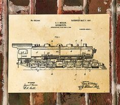 KillerBeeMoto: Duplicate of Original U.S. Patent Drawing For Vintage Mellin Locomotive 1907  We can print on multiple sized media. We will provide