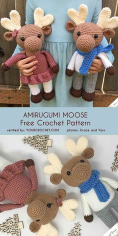 Amirugumi Moose Free Crochet Pattern - Tricot et Crochet A cute amigurumi moose, great Christmas gift idea or soft toy for kids to cuddle! Crochet Motifs, Crochet Patterns Amigurumi, Crochet Dolls, Crocheted Toys, Crochet Sloth, Cute Crochet, Crochet Animals, Crochet Stuffed Animals, Learn Crochet