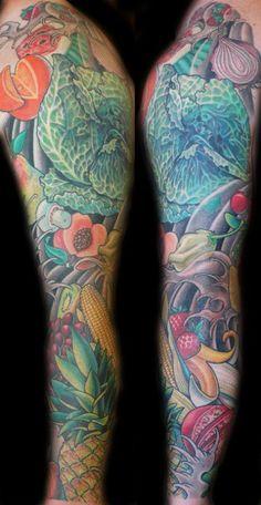Food tattoo #FoodSleeve #tattoos #Inked #ink #food