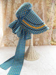 High Quality, Adjustable Adult Size, Vintage Holly Hobbie Style Sunbonnet or Prairie Bonnet, Blue Calico,