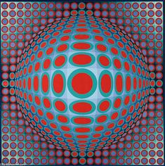 Vga 222 - (Victor Vasarely) Plus Victor Vasarely, Op Art, Circle Painting, Middle School Art Projects, 3d Quilts, Kinetic Art, Illusion Art, Optical Illusions, Unique Art