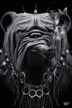 Top Imagem, Bulldog Mascot, Bull Tattoos, Alien Drawings, Dark Wallpaper, Eye Art, Pet Portraits, Dark Art, Cartoon Art