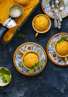 Mango Sorbet Mango Sorbet is a luscious seasonal Frozen Dessert that can satisfy your craving in a Grueling Hot Weather. They make a great alternative to Ice creams and perfect for anyone with lactose intolerance.Good news is Its V-E-G-A-N !!