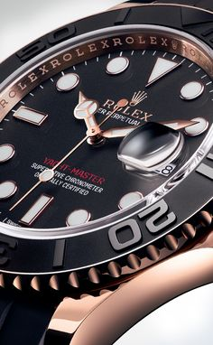 The Rolex Yacht-Master 40 in 18ct Everose gold with a black dial and a matt black, 60-minute graduated Cerachrom bezel insert in ceramic.