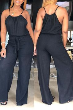 We're borderline obsessed with this ultra cool casual jumpsuit - definitely one of our new favorites! This is a plain, sleeveless, spaghetti strap, all-in-one jumpsuit. This long jumpsuit is made from polyester Casual Outfits, Cute Outfits, Fashion Outfits, Casual Clothes, Fashion Ideas, Fashion Trends, Black Women Fashion, Womens Fashion, Cheap Fashion