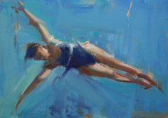 Diving, oil on panel, 12 x 17
