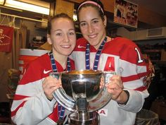 Jocelyne Larocque and Caroline Ouellette--World Champions! photo from Hockey Canada Olympic Athletes, Olympic Team, Women's Hockey, Hockey Players, 2010 Winter Olympics, Hockey Boards, Olympic Committee, Winter Games, Olympians