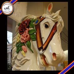 This is Belle, one of our hand carved wooden horses that will go on the carousel. Photo by Katy Levesque 2013.
