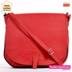 703ac5081f166 Skórzana torebka damska - duży model w pięknym odcieniu koloru czerwonego