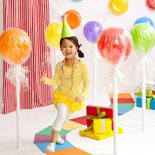 Candy decor. Blog is in another language. But pic is inspiration enough. Colorful Balloons and paper plates wrapped in cellophane.