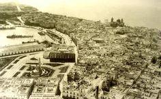 Vista aerea de la plaza de España y centro urbano de #Cadiz a finales del reinado de Alfonso XIII (1931)