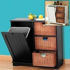 Stunning Diy Kitchen Storage Solutions For Small Space And Space Saving Ideas No 01 (Stunning Diy Kitchen Storage Solutions For Small Space And Space Saving Ideas No design ideas and photos Hide Trash Cans, Trash Bins, Kitchen Storage Solutions, Diy Kitchen Storage, Smart Kitchen, Laundry Storage, Laundry Room, Pet Food Storage, Storage Place