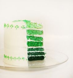 This St. Patrick's Day cake has an ombre green inside and a pretty shamrock decoration on the outside.