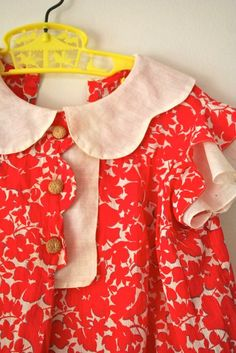 vintage 30s girls dress POPPIES floral cotton voile by MsTips