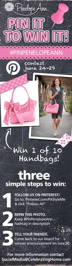 """Penelope Ann Pinterest Contest: June 24-29th. Follow the Penelope Ann Style boards, Repin this pin to your boards for a chance to WIN THIS HANDBAG. PenelopeAnnStyle.com is giving away a total of 10 """"You're Teasing Me"""" Pink handbags. Make sure you Repin this before June 29th at midnight CST. The winners will be chosen at random. #pinittowinit #penelopeann #PinPenelopeAnn Come back to our Contest Board on June 30th to see the winners list!"""