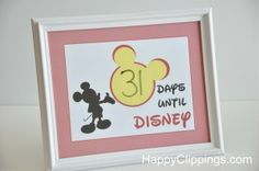 Disney Vacation Countdown – Free Printable Pinner update: made this for my kids, so super easy and turned out really cute! I ended up cutting of the outer red border that prints with the pic and used red glitter cardstock as a mat to add some sparkle. In the end with frame...$5!