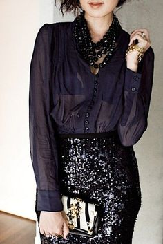 Skirt: sequin sequins black pencil shirt black shirt see through necklace gold necklace metallic