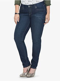 """With a fitted higher waist and eased hip and thighs, this full-coverage skinny is cut to fit your curves. The dark washed denim has been subtly hand-whiskered for a sexy lived-in look.<ul><li> Higher rise</li><li>30"""" inseam; 13"""" leg opening</li><li>70% cotton; 28% polyester; 2% spandex</li><li>Wash cold; dry low</li><li>Imported</li></ul>"""