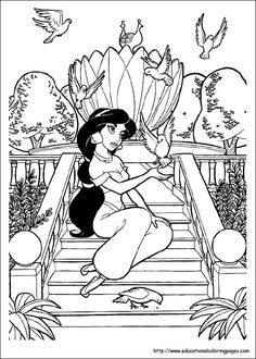Let Your Imagination Soar And Color This Princess Jasmine Birds Coloring Page With The Colors Of Find Pin More On Disney Aladdin