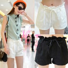 Find More Shorts Information about Hot pants new 2014 summer women ladies casual shorts with Waistband Lace cool walking shorts Black White Personality! ,High Quality Shorts from Tina Fashion Woman Clothing Store on Aliexpress.com