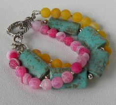 Triple Strand Handmade Beaded Gemstone by bdzzledbeadedjewelry, $31.00