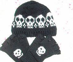 Skull and Crossbones beanie and fingerless gloves.