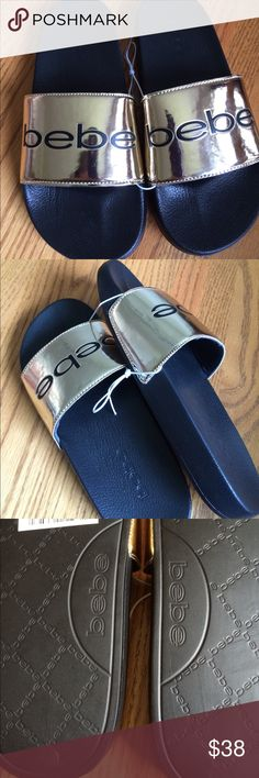 Bebe sandals Niliae size 7 NWT NWT great comfortable slide on. A slight scuff on side of one  sandal, as shown in picture Bebe Shoes Sandals