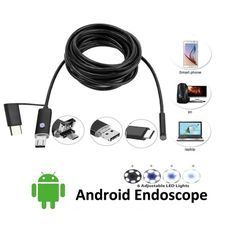 DANIU 3-in-1 5.5mm 6LED Waterproof Endoscope Android USB Type C Borescope Inspection Camera 1/2/3.5/5m