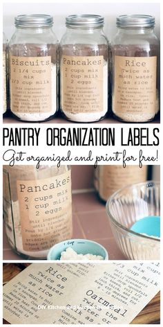 Pantry Organization Labels to Print for Free These free printable pantry organization labels are perfect for your kitchen! Pantry organization has never been easier or cuter than adding these labels to mason jars! Kitchen Pantry, Diy Kitchen, Kitchen Storage, Kitchen Labels, Craft Storage, Kitchen Ideas, Food Storage, Organized Kitchen, Jar Storage
