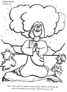 garden prayer bible coloring page for kids to learn bible stories