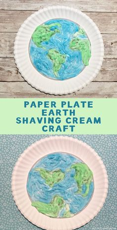 Easy earth day craft. Earth paper plate craft for kids. Earth template and shaving cream craft Paper Plate Crafts For Kids, Easy Crafts For Kids, Toddler Crafts, Fun Crafts, Paper Crafts, Arts And Crafts, Earth Craft, Earth Day Crafts, Shaving Cream Painting