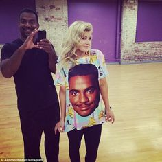 Quick break: The Fresh Prince Of Bel Air star shared this photo during practice and wrote, 'Look what @witneycarson wore today #teamwitfonso'