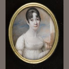 Alexander Gallaway, A Lady, wearing white dress with frilled trim and ribbon waistband, pink shawl over her left arm, her hair parted in curls at the front, pillar background