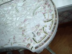 Limoge Broken China Mosaic Table with Drawer - FREE SHIPPING. $475.00, via Etsy.