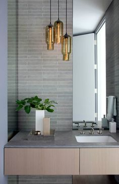 Contemporary Lighting Tips on How to Match Your Contemporary Home Design With Modern Lighting Bathroom Pendant Lighting, Light Fixtures Bathroom Vanity, Grey Bathroom Tiles, Modern Bathroom Lighting, Bathroom Ceiling Light, Modern Lighting, Pendant Lights, Lighting Ideas, Pendant Lamp