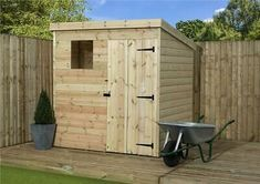 Wooden garden shed shiplap pent shed pressure treated tanalised windows Wood Cladding, Garden Bulbs, Wooden Sheds, Wooden Garden, Outdoor Gardens, Solar, Layout, Outdoor Structures, Windows