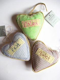Gisela Graham lavender filled fabric hearts set of 3 rest quiet relax